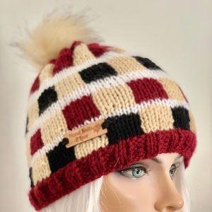 Hand Knits 2 Love Beanie Hat Plaid Check Designer